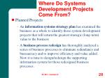 where do systems development projects come from28