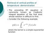 retrieval of vertical profiles of temperature demonstration