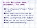 burnett v birmingham board of education n d ala 1994