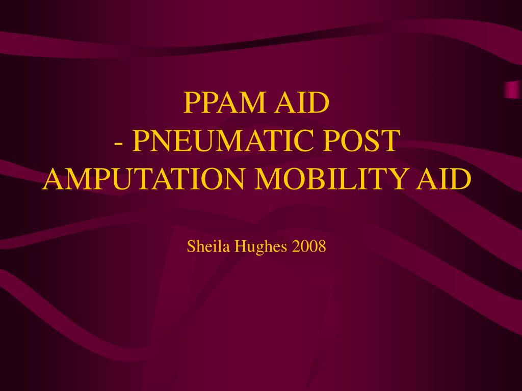 ppam aid pneumatic post amputation mobility aid sheila hughes 2008 l.