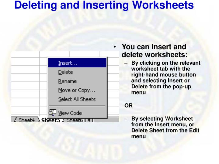 Deleting and inserting worksheets