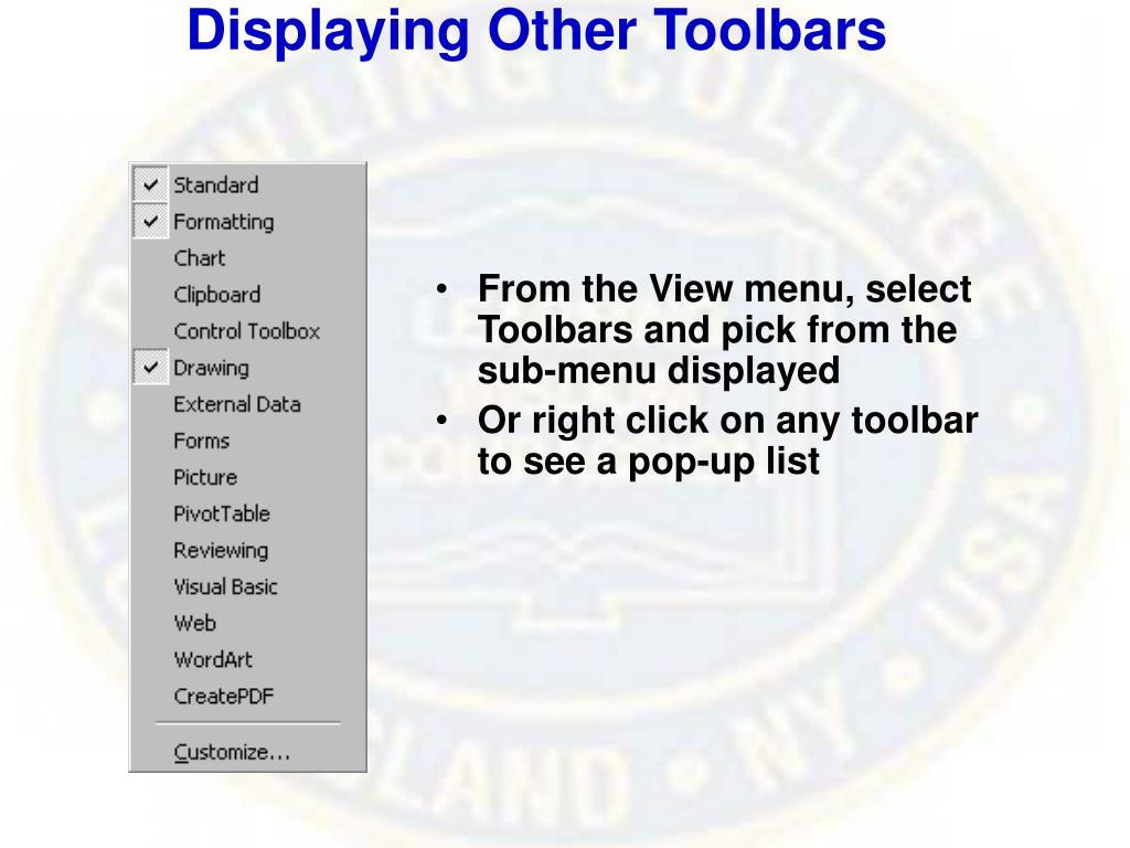 Displaying Other Toolbars