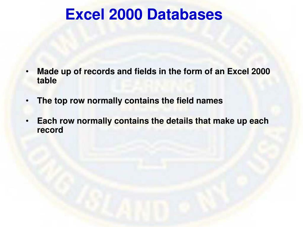 Excel 2000 Databases
