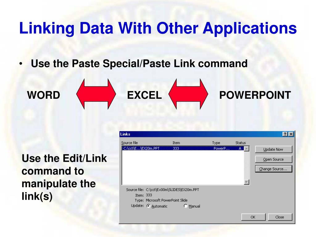 Linking Data With Other Applications