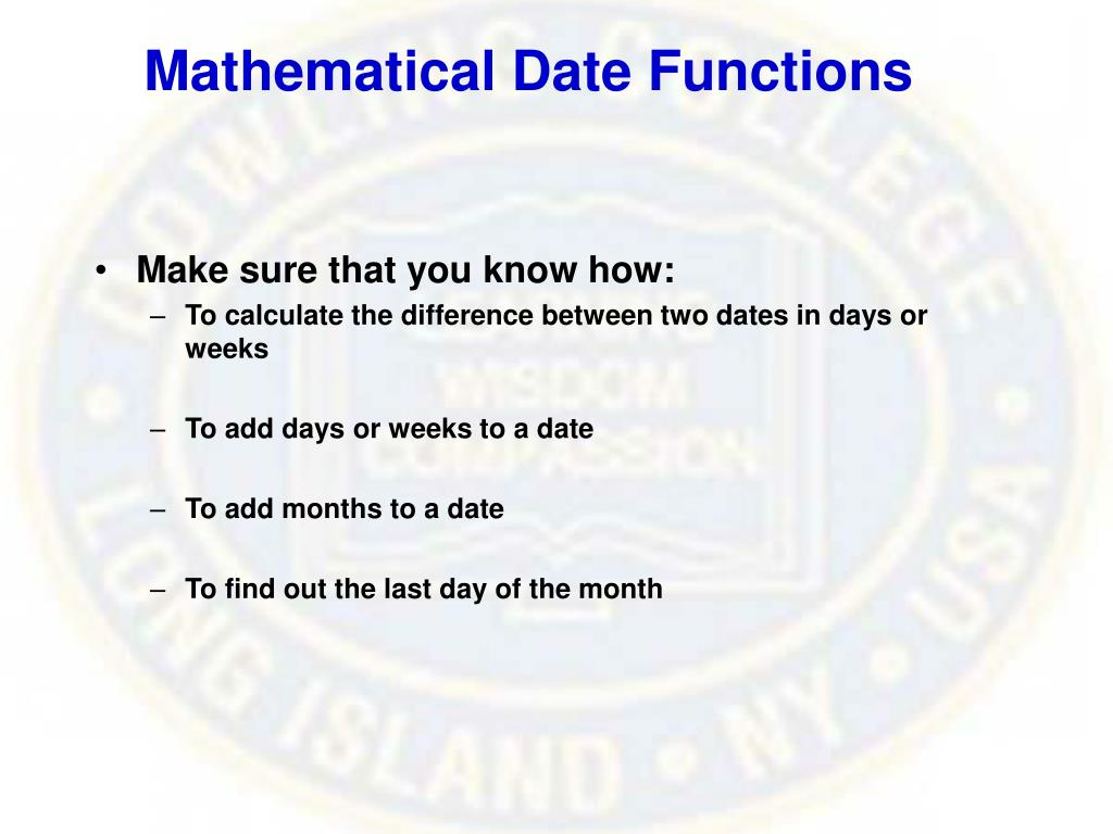 Mathematical Date Functions