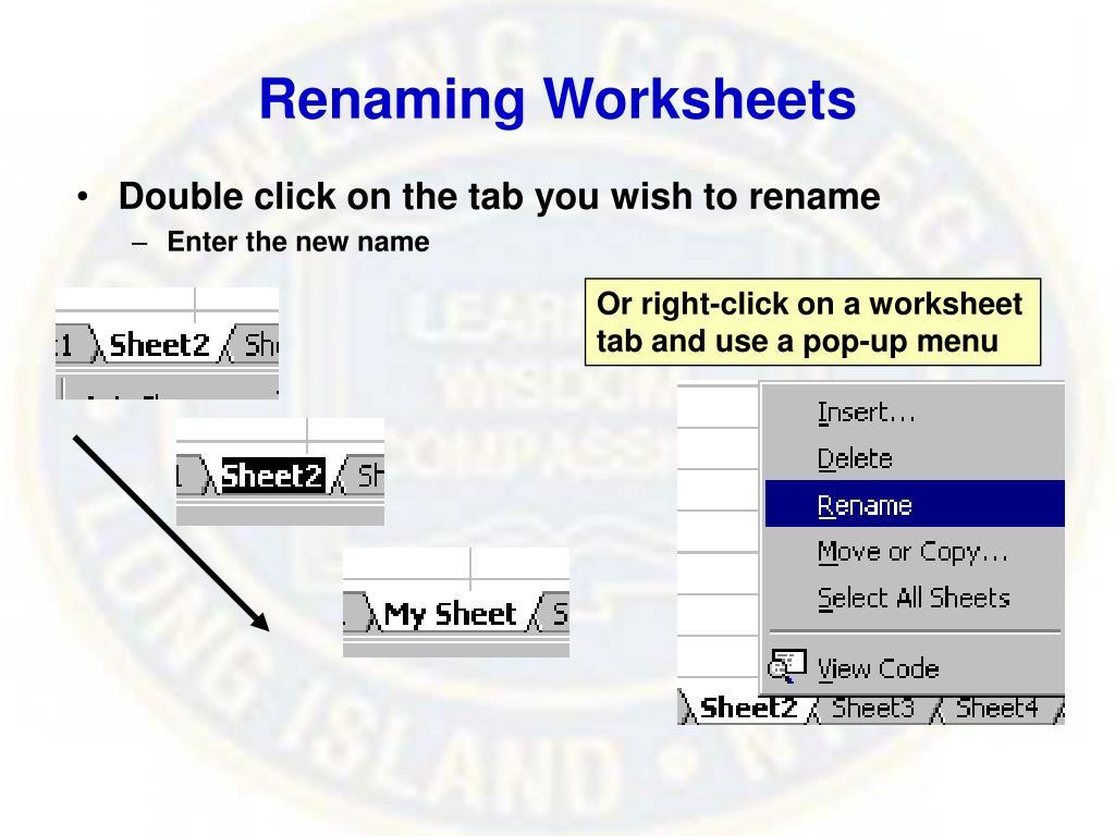 Renaming Worksheets