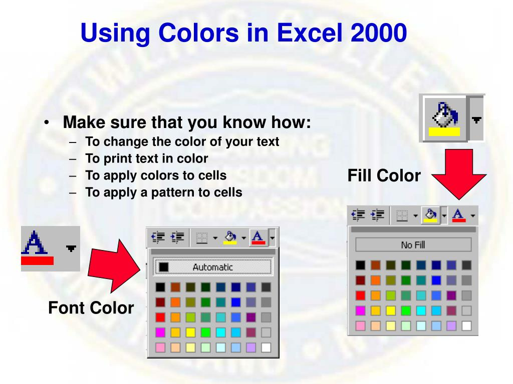 Using Colors in Excel 2000