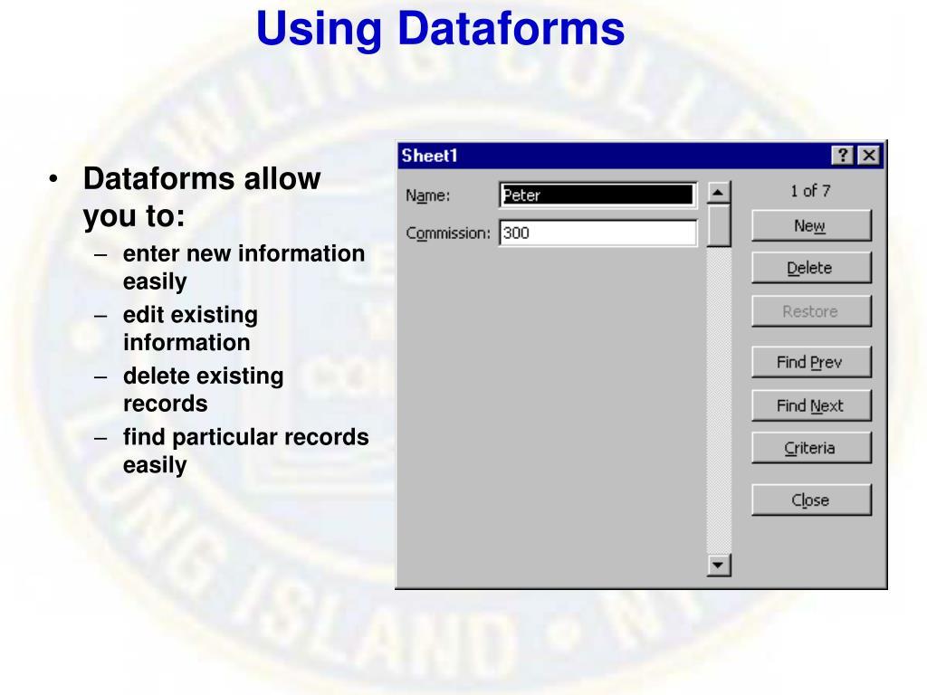 Using Dataforms