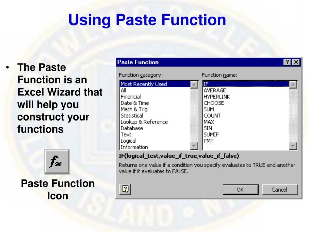 Using Paste Function