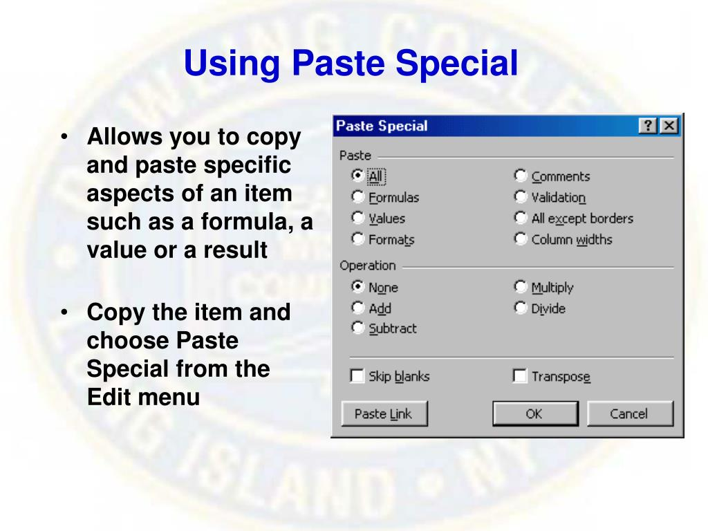 Using Paste Special