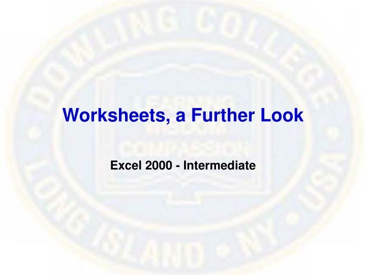 Worksheets a further look