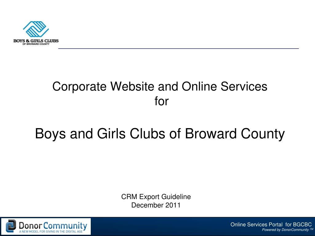 corporate website and online services for boys and girls clubs of broward county l.