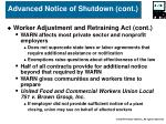 advanced notice of shutdown cont