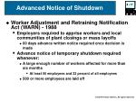 advanced notice of shutdown