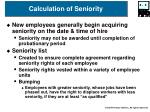 calculation of seniority