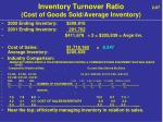 inventory turnover ratio 2 97 cost of goods sold average inventory