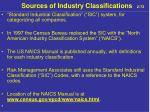 sources of industry classifications 2 72