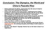 conclusion the olympics the world and china s peaceful rise