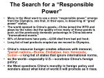 the search for a responsible power