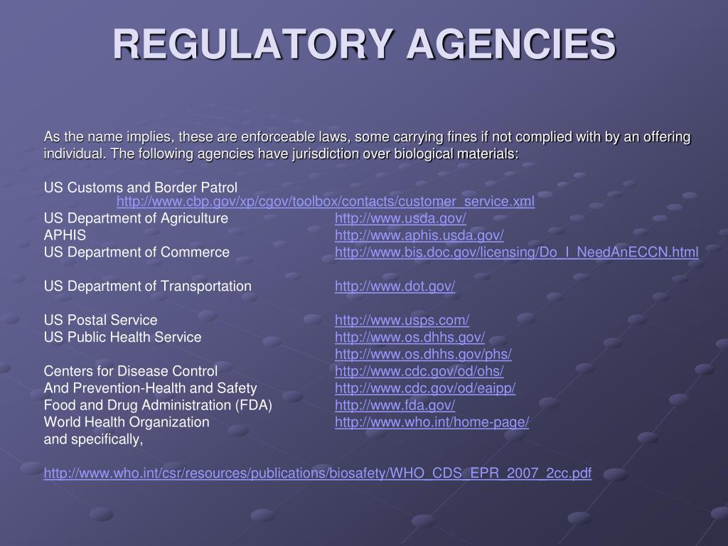 REGULATORY AGENCIES