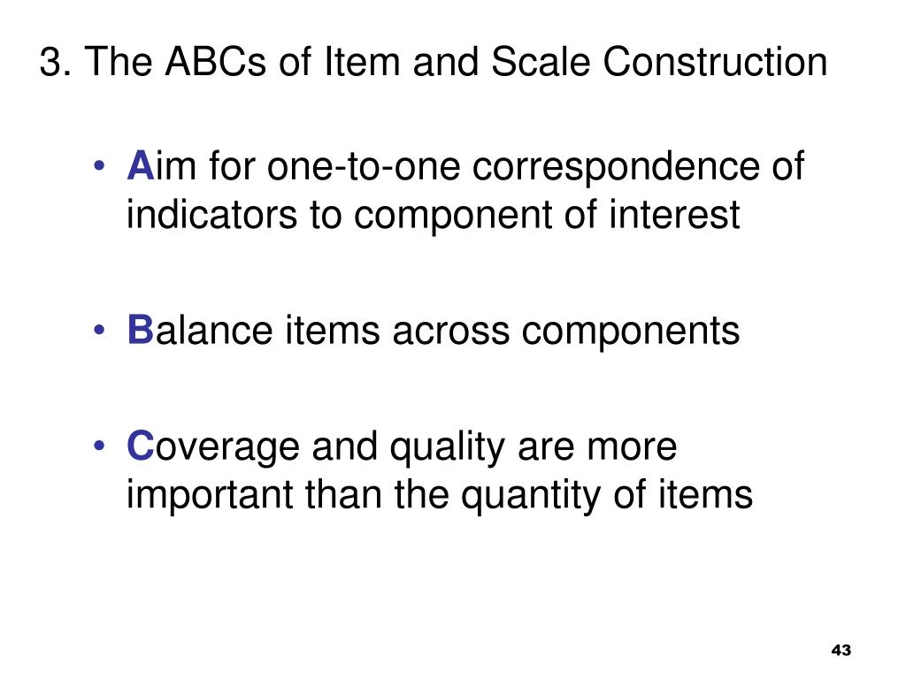 3. The ABCs of Item and Scale Construction