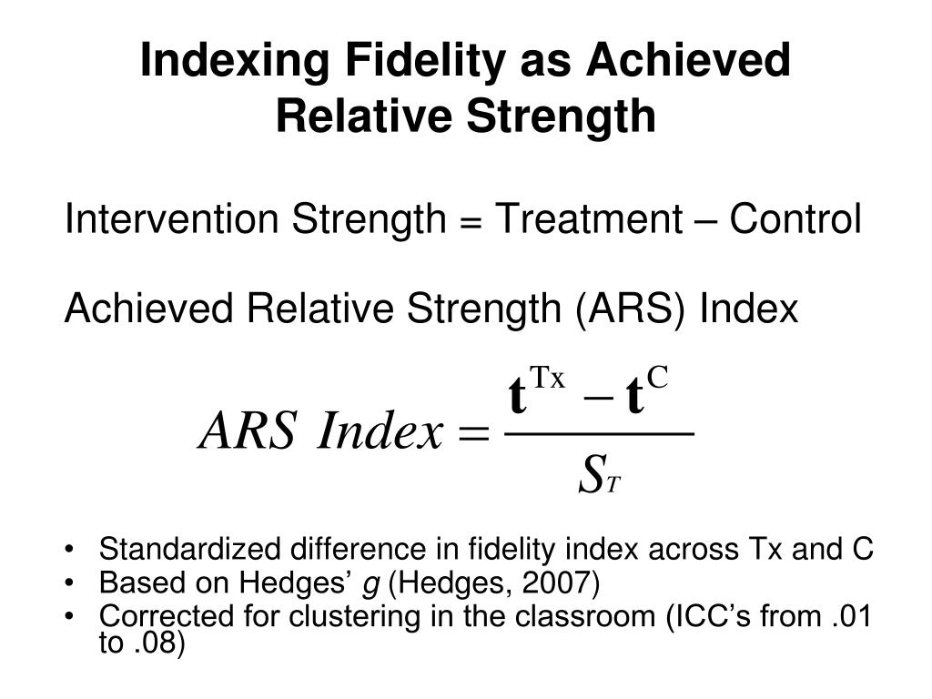 Indexing Fidelity as Achieved Relative Strength