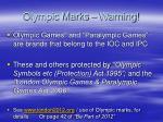olympic marks warning