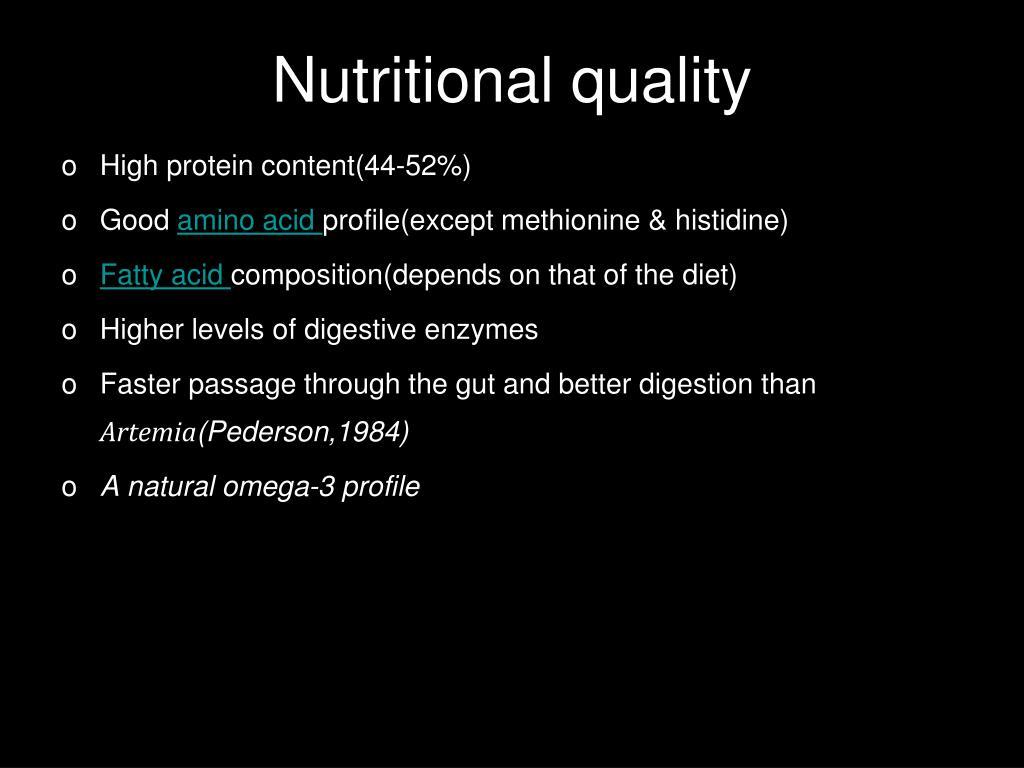 Nutritional quality