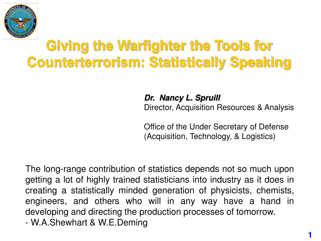 giving the warfighter the tools for counterterrorism statistically speaking l.