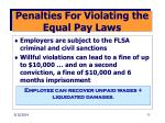 penalties for violating the equal pay laws