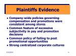 plaintiffs evidence