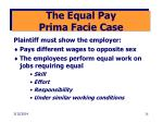 the equal pay prima facie case