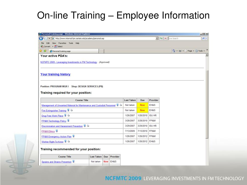 on line training employee information l.