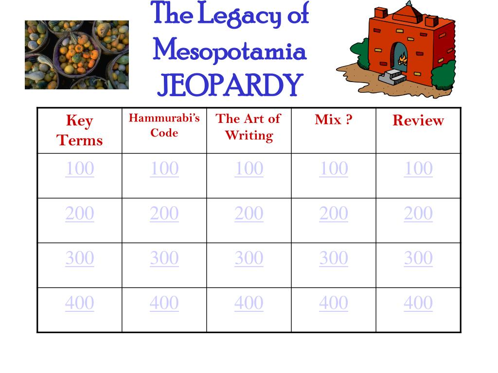 the legacy of mesopotamia jeopardy l.