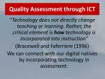 quality assessment through ict