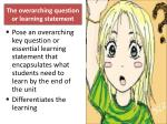 the overarching question or learning statement