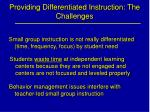providing differentiated instruction the challenges