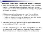 measuring caste based preferences a field experiment