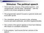stimulus the political speech41