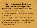 early research on individual differences and negotiation