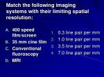 match the following imaging systems with their limiting spatial resolution