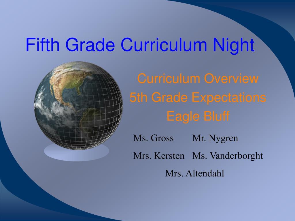 fifth grade curriculum night l.