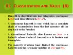 iii classification and value b