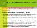 iii i the continuous hadeeth