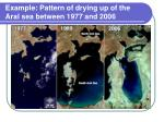 example pattern of drying up of the aral sea between 1977 and 2006