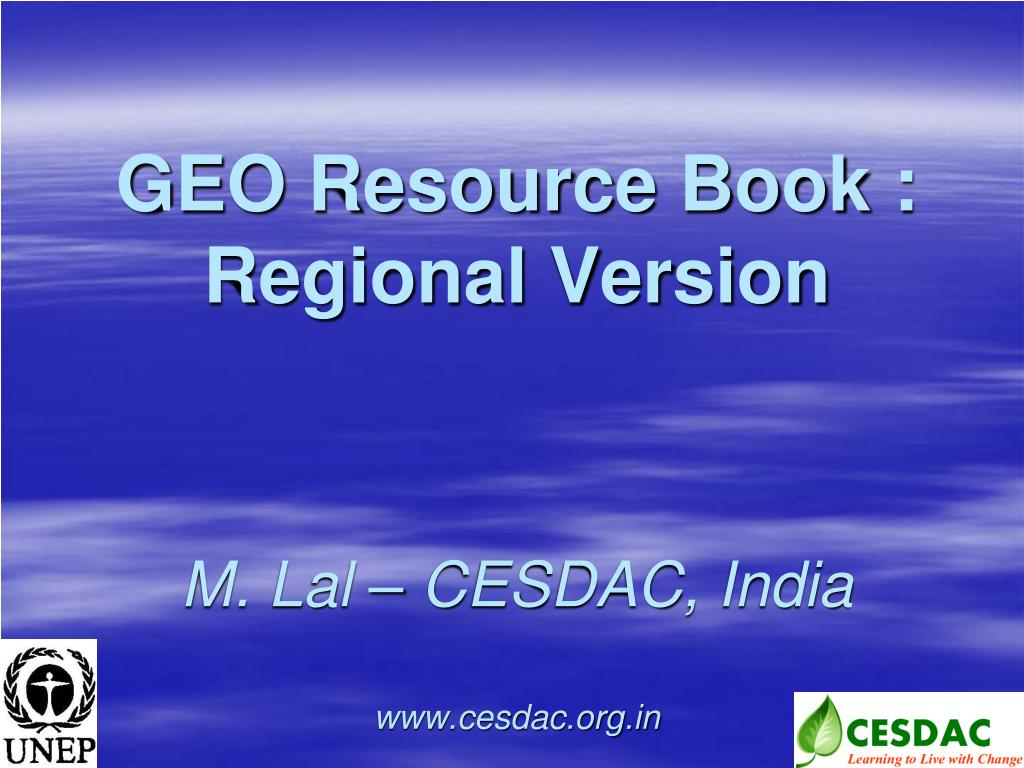 geo resource book regional version m lal cesdac india www cesdac org in l.