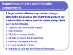 importance of data and indicator components