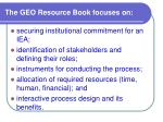 the geo resource book focuses on