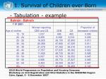 1 survival of children ever born10