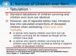 1 survival of children ever born6